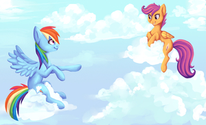 [Fanart] Rainbow Dash and Scootaloo by voxame