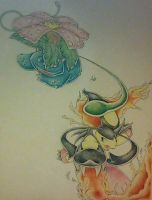 Venusaur and Mega Mawile/ Colored!!! by Adolessence