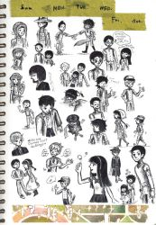 many small character drawings by sweet-suzume