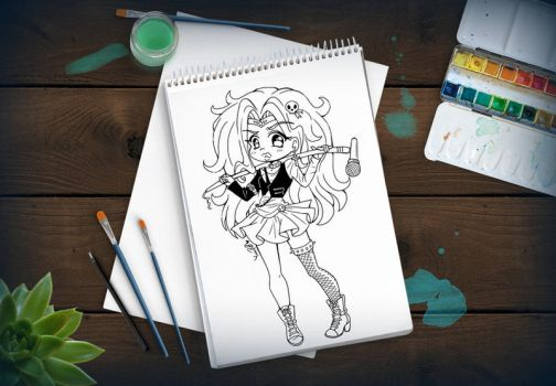 Sailor Glam Metal ::Open Lineart:: by YamPuff