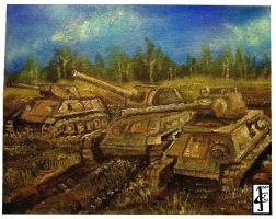 Oil painting - 3 Russian tanks by 25Nanao16