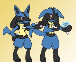 Young male and female lucario by Vgkitties