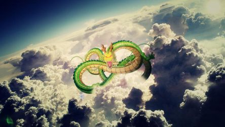 Dragon Ball Z Shenron above clouds