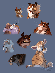 Cartoony tigers by hecatehell