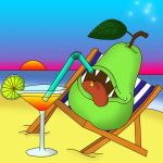 Pear On The Beach by Catlaxy