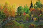 Little cottage in the fall by Spookydier