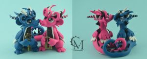Dragon Couple - Key And A Padlock by claymeeples