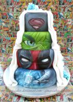 Super hero's Wedding Cake side 1 by ginas-cakes