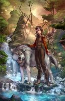 Arya and Nymeria color by cehnot