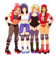 Rollerderby derps COLLAB by BayneezOne