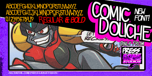 new free comic font: comicdouche by andehpinkard