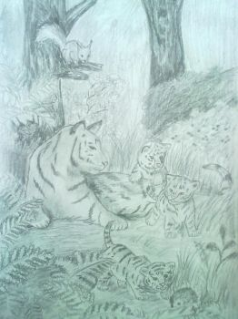 Tigers in the forest by Nastenka97