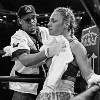 Heather Hardy post fight toweling off by freddobbs
