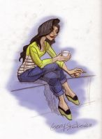 Girl with striped shirt and coffee by Stnk13