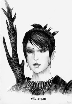Dragon age Morrigan bw by Agregor