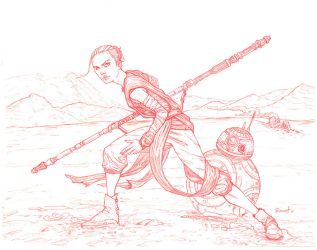 Rey and BB-8 pencils by warballoon