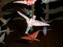Origami Crane Mobile details by Valley-of-Egeria