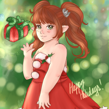 [FF14] Happy Holidays from Lyralee by saruwarui