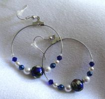 Blue Asian themed earrings by Sparkling-Sky