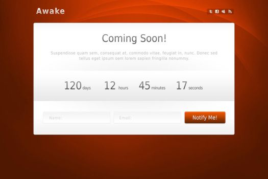 Awake ComingSoon Template PSDs by WebTreatsETC