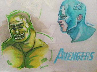 AVENGERS MARKERS SKETCHES by sergiovisual