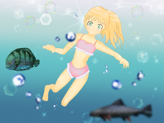 Girl Swimming Underwater by NeruOverSleep
