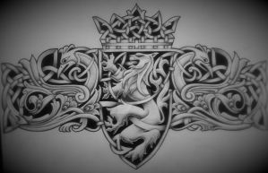 Celtic lion Emblem by Tattoo-Design