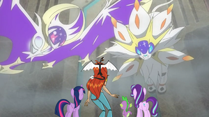 Bloom and her Friends meet Solgaleo and Lunala by Dragonfire92379