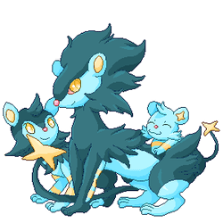 Luxray Family by flaringweasels