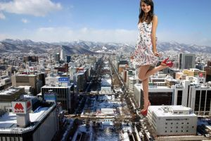 Giantess Victoria Justice Feeling Frisky in Japan by Growthhh