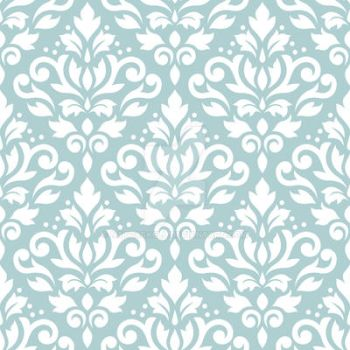 Scroll Damask Pattern White on Lt Teal by NatPaskell