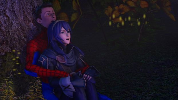 Spider-Man and Lucina : the night is peaceful by kongzillarex619
