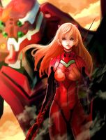 Asuka with the Lance of Longinus by Daidus