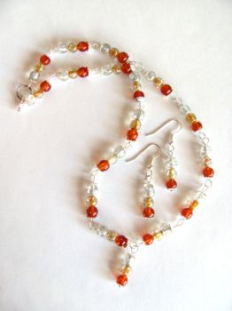 Orange Crackle Glass Necklace and Earrings Set by VioletRosePetals