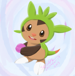 .:Pokemon:. Chespin and a Macaron by SEGAMew