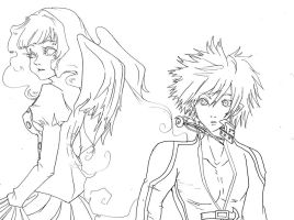 Line Art Uru and alice by Caim-The-Order