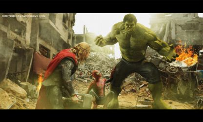 Hulk vs Thor (with some help from Spider Man) by dmorson