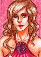 ACEO 02 - Lady in red by bittersweet-Grace
