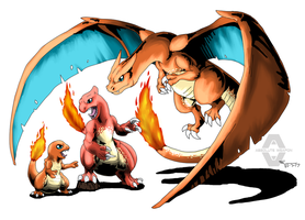 004 - 005 - 006 - Charizard Family by ABSOLUTEWEAPON