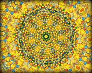 yellow summer mandala w flower by santosam81