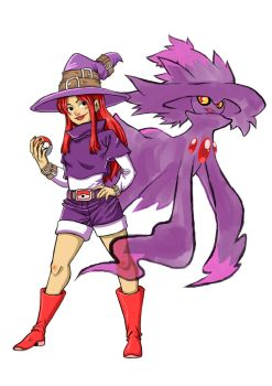 Trainer and her Mismagius by o0DIABLO0o