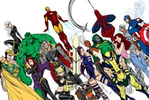 Avengers By J  Scott Campbell and Leovitalis by Kenkira
