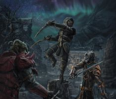Battle At Windhelm Cemetery Commission Painting by Entar0178