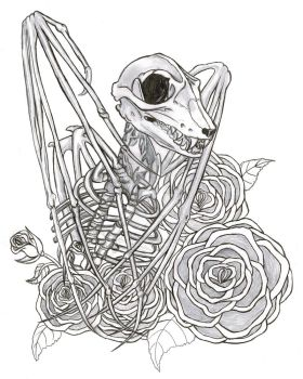 Bat Skeleton and Roses