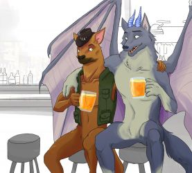 Friendly drinks and just chillin' by orcawardseal by werewolf-dragon