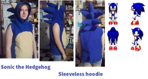 Sonic the hedgehog sleeveless hoodie finished by ShelandryStudio