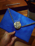 Blue Suede Rose - Envelope Clutch by judithchen