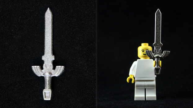 LEGO 3D Printed Polished Nickel Steel Master Sword by mingles
