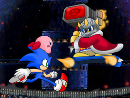 Sonic and Kirby VS The Egg D3 ~Commission~ by Xero-J