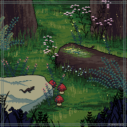 In the woods (pixel version) by Forheksed